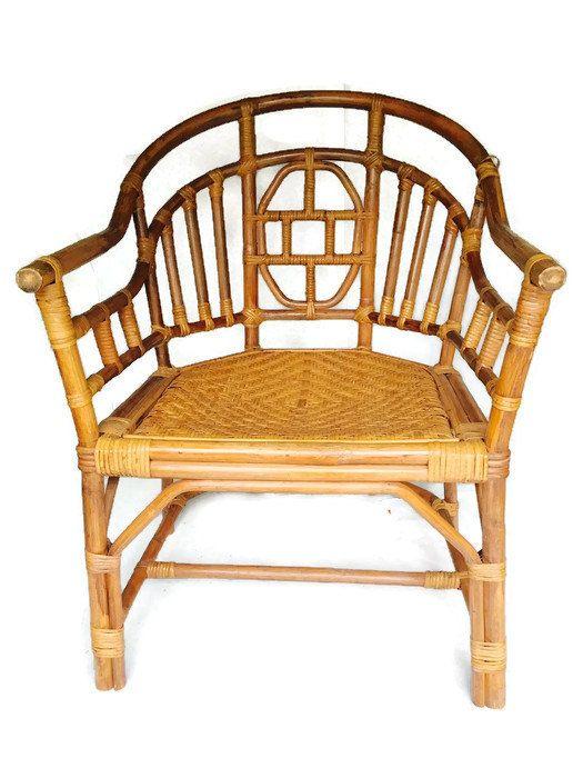 Vintage Bamboo & Rattan Arm Asian Chair Chinoiserie Desk Chair Bohemian…