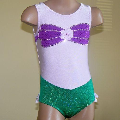 Princess Ariel Inspired Toddlers Girls Gymnastics Leotard  Tank Style Size 2T-C7