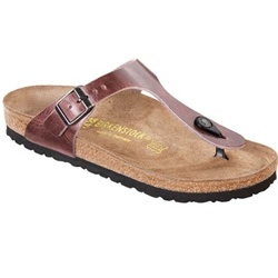 Birkenstock Gizeh Shiny Antique Leather - Rose-Taupe  Upper material: Leather — Thick and supple leathers without additional dyes to keep the leather breathable, durable and comfortable.    Footbed: The original Birkenstock footbed - Featuring pronounced arch support, a deep heel cup and a large toe box. Covered with a suede liner, this footbed molds and shapes to your foot.     Sole material: EVA - Flexible, durable, lightweight, shock resisting material.  $124 at www.applesaddlery.com