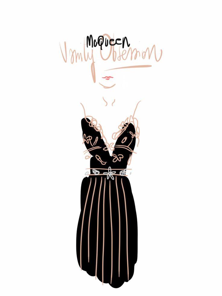 Alexander McQueen, Vanity Obsession dress - www.opentoeillustration.com