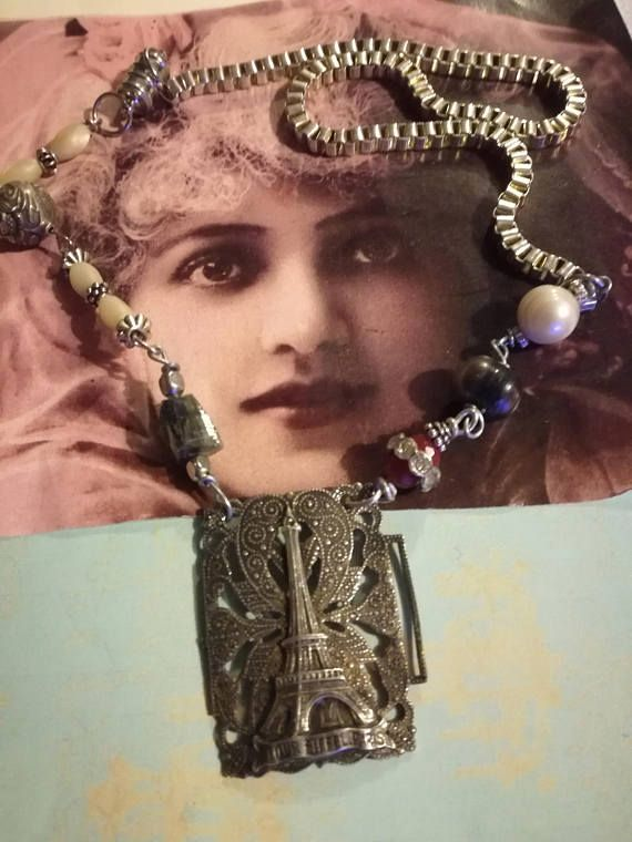French antique upcycled necklace parisassemblage one of