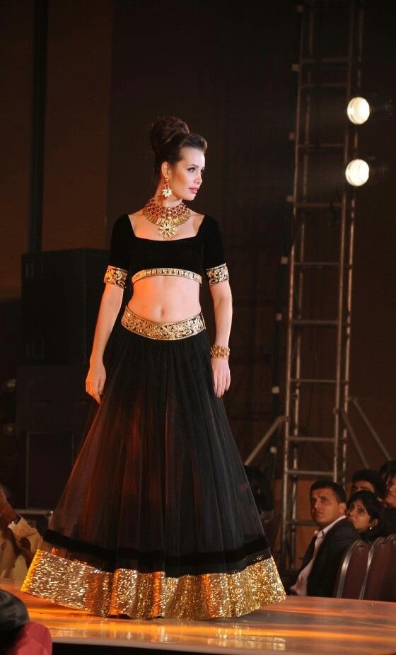 Black and Gold Lehenga with gold and Ruby choker