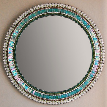 "24"" Mirror Teal  $326. This would be fun to make. Find the right stuff, glue it all together. Voila!"