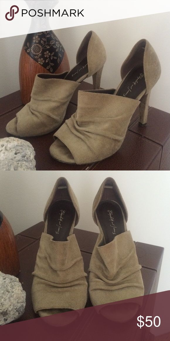 Elizabeth and James  olive green suede heels Beautiful neutral color. Worn and loved by previous owner. Elizabeth and James Shoes Heels