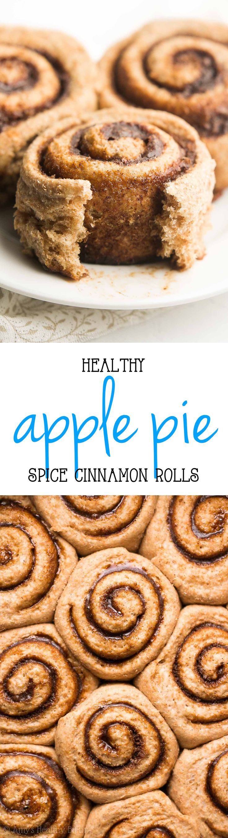 Healthy Apple Pie Spice Cinnamon Rolls -- only 112 calories + the BEST I've ever tasted! You'll never use another cinnamon roll recipe again! {The secret's in the spice blend!!} | homemade cinnamon rolls | cinnamon rolls recipe | best healthy cinnamon rolls