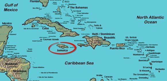 This is Jamaica it is located in the Caribbean of the southern coast of North America