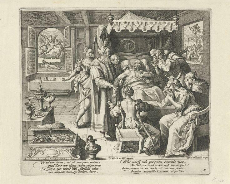 Crispijn van de Passe (I) | De dood van de rijke man, Crispijn van de Passe (I), 1589 - 1611 | De rijke man ligt op zijn sterfbed. Familie en vrienden treuren om de dode. Links op de achtergrond is door een venster te zien hoe de ziel van de arme Lazarus door engelen naar de hemel wordt gedragen. Rechts op de achtergrond is door een venster te zien hoe de ziel van de rijke man door een duivel naar de hel wordt vervoerd. Prent uit een serie van vier met de gelijkenis van de rijke man en de…