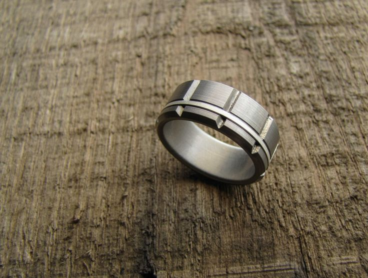 Atlas (Bright) Titanium Men's Wedding Band With Silver Inlay  Handcrafted by Richter Scale Rings