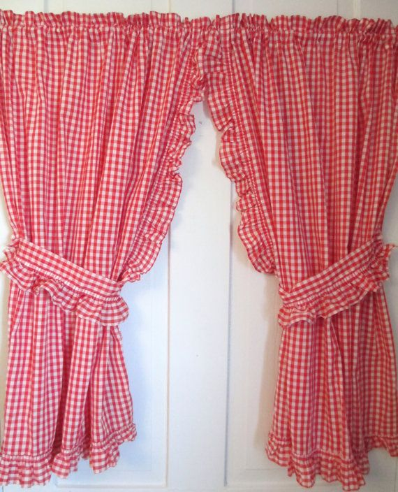 red white gingham curtains 2 panels valance and ruffled tie backs