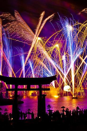 Fireworks at Itsukushima shrine, Japan