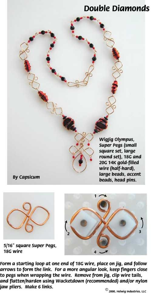 Double Diamond Wire and Beads Necklace made with WigJig jewelry making tools and jewelry supplies.