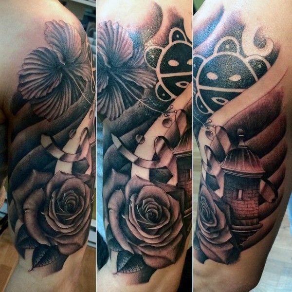 Creative Black And Grey Taino Mens Arm Tattoos