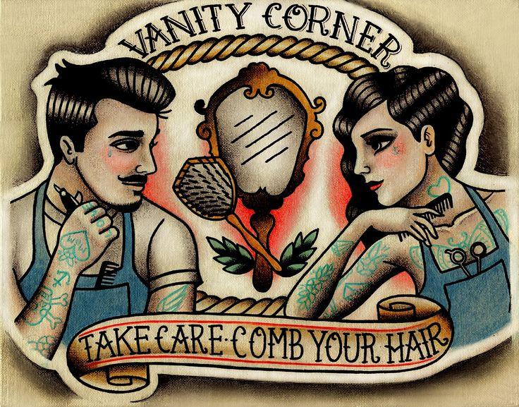 Commission business logo rights belong to vanity corner for Vintage tattoo art parlor