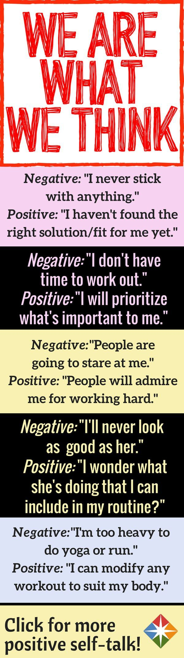 You'd never dream of firing off these sayings to someone else -- so why tell them to yourself? The first step to better health and a higher quality of life is to master the art of positive thinking. Start here!