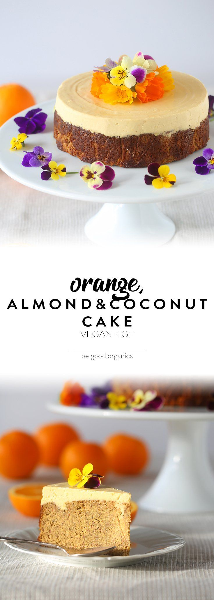 Orange, Almond & Coconut Cake - Be Good Organics. With cashews, coconut cream and coconut nectar.
