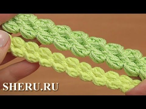 Шнур гусеничка из пышных столбиков и воздушных петель Урок 103 3D Croche...