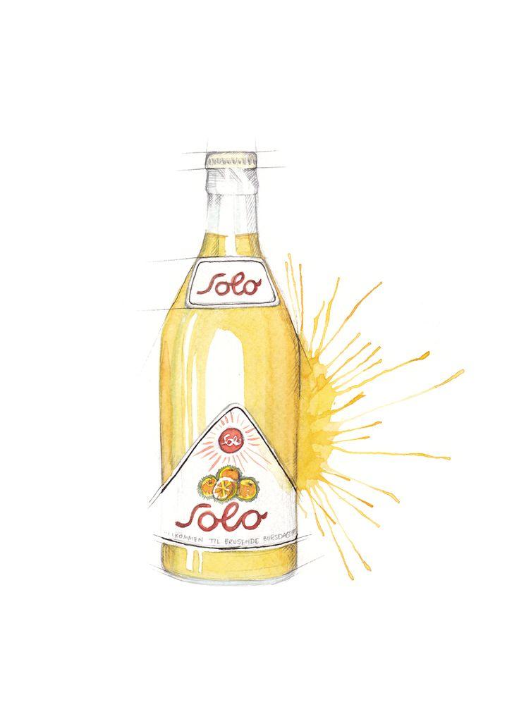 """""""Soloflaske"""" (Vintage norwegian soft drink bottle)  Copyright: Emmeselle.no  Illustration by Mona Stenseth Larsen"""