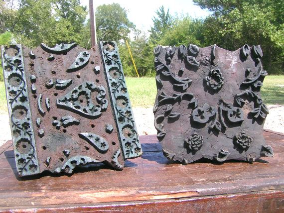 TWO Old Hand Carved Fabric Stamping Ink Blocks Nepal 7 8 et