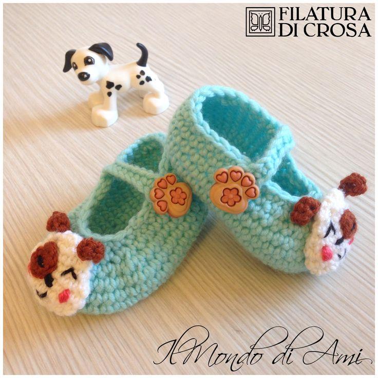 """Scarpine per neonato """"cagnolino"""", realizzate con il filato ZARA (Filatura di Crosa)"""