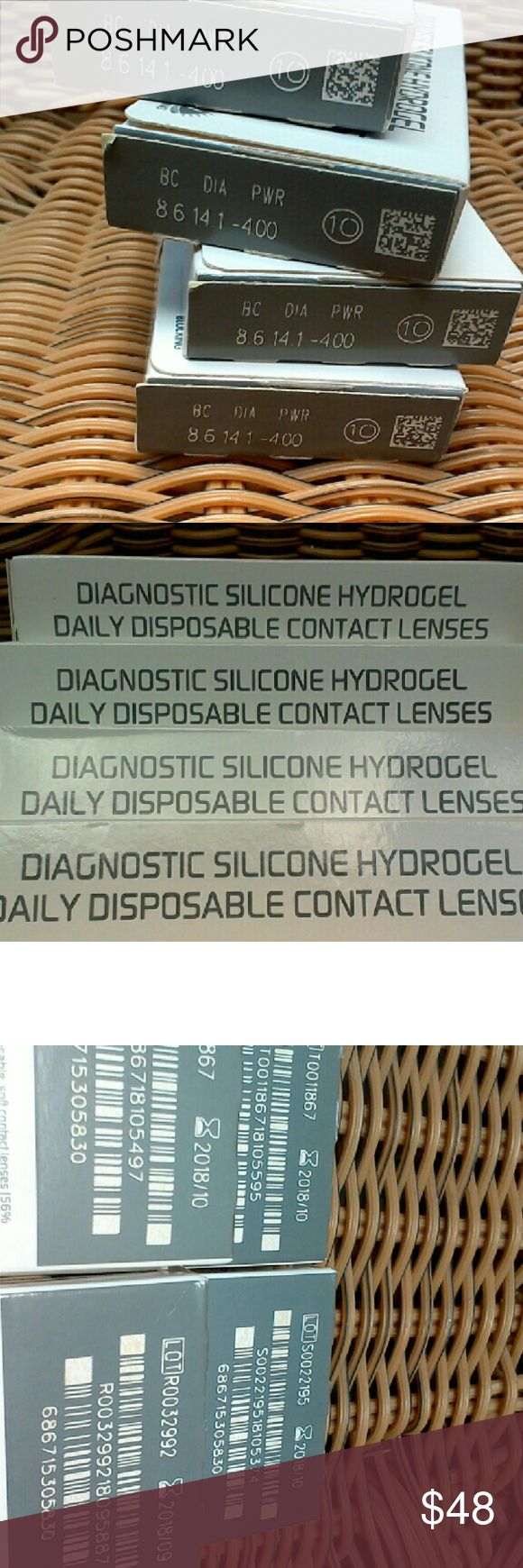 Lot of 40 Daily Hydrogel Disposable Contact lenses Lot of 40, All are sealed & unexpired. Strength & size are -4.00, 14.1, 8.6. These are produced by Saulton Pharmaceuticals. Questions welcomed, I have other lenses, torric & Astigmatism. Asking 1.20 per lense. Price is firm I HAVE MANY DIFFERENT STRENGTHS! Message me anytime ask 1.20 per lense, Discounts on big orders Other