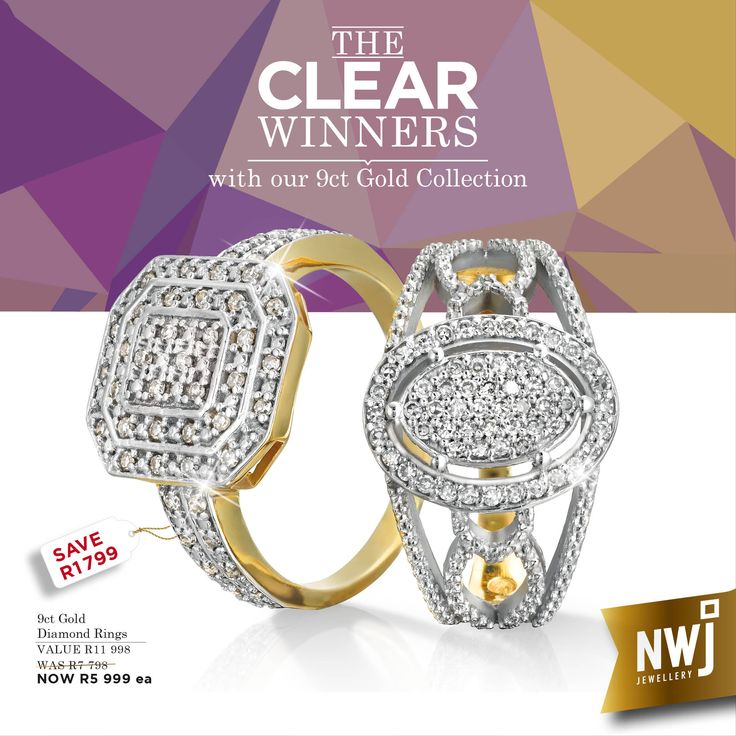 One of our Clear Winners! Our 9ct Gold and Diamond rings - priced at an amazing R5999 each