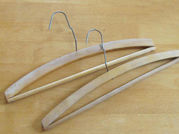 70s Soviet Vintage Clothes Hangers; Pair of Old Wooden Hangers; Unusual Clothes Hangers; Wood & Metal Wire Durable Coat Hangers, Set of 2