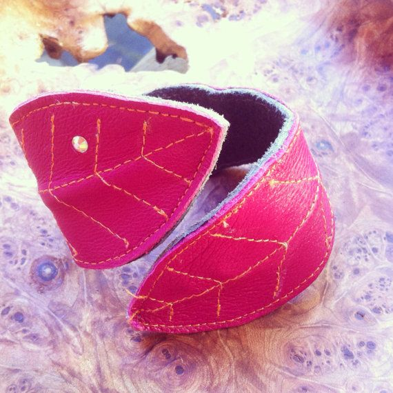 Pixie leather leaf cuff on Etsy, $35.00 CAD