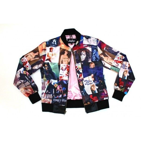 Kinship's '90s Girl Bomber Jacket Features Aaliyah, Mariah Carey, TLC... ❤ liked on Polyvore featuring outerwear, jackets, flight jackets, bomber style jacket, bomber jacket, mariah carey and blouson jacket