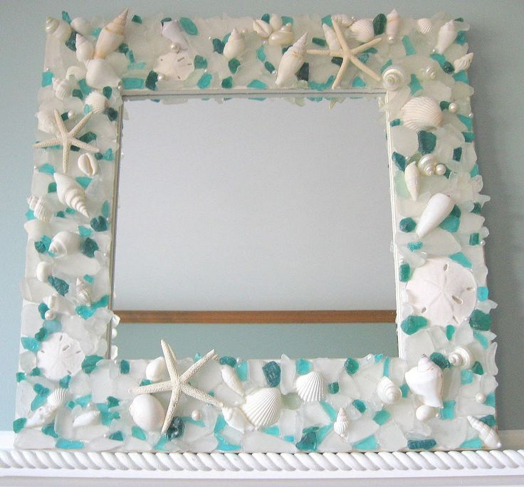 Beachstring cool craft seashell mirror picture frame for Wooden mirror frames for crafts