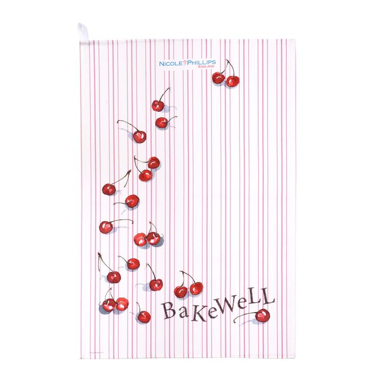 Nicole Phillips England artisan Cherry Bakewell Tea Towel. Nicole Phillips designs and makes beautiful fine textile ranges that add accents of creativity and colour for your home and kitchen. Designed and made in England to the highest print and quality standards. http://www.nicolephillips.com/collections/tea-towels/products/cherry-bakewell-tea-towel #baking
