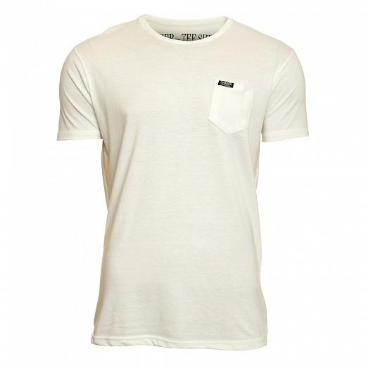 Stylové pánské bavlněné tričko má úzký rovný střih skrátkým rukávem, kulatým výstřihem a jednou náprsní kapsičkou.