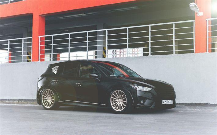 Descargar fondos de pantalla mazda cx5, la postura, el ajuste de la cx5, negro cx5, el ajuste de crossover, los coches Japoneses, mazda