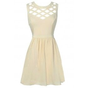 Cute Beige Cutout Lattice Dress, Cute Beige Party Dress, Beige Summer Dress