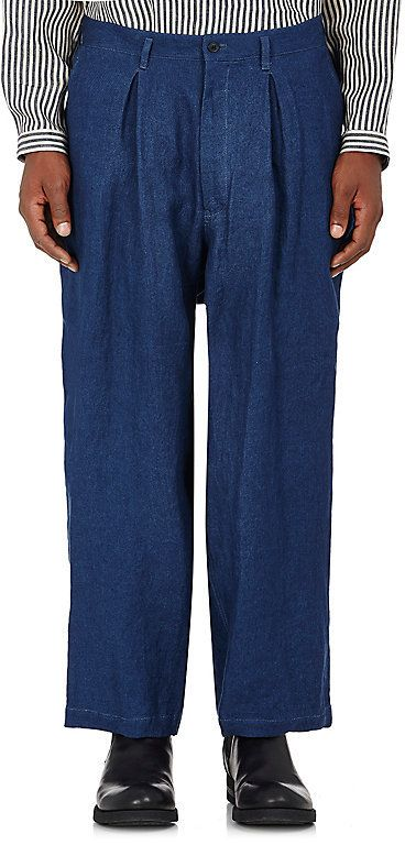 Yohji Yamamoto MEN'S LINEN PLEAT-FRONT PANTS
