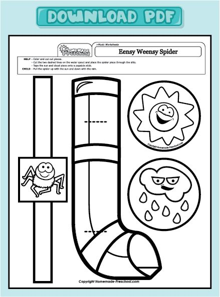 Eensy Weensy Spider craft colouring                                                                                                                                                                                 More