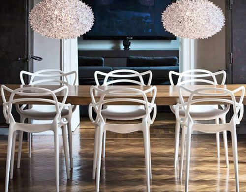 The great thing about these Phillipe Stark Master's chairs is that they are made of Polypropylene are can be used indoors or outdoors. Also, they come in orange...
