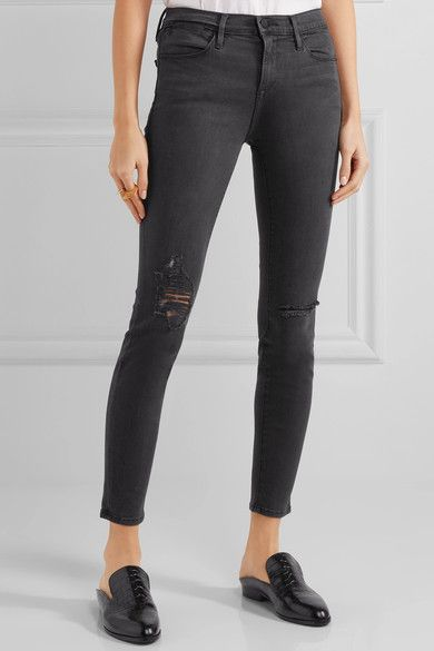 FRAME - Le High Skinny Distressed Jeans - Gray -