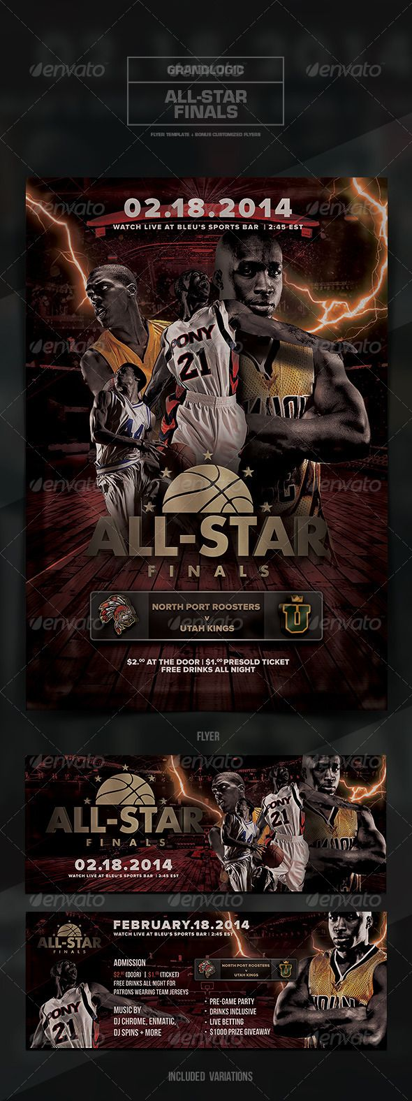 """Basketball Championship Flyer/Poster  #GraphicRiver            Detail       Basketball Championship Flyer/Poster    """"2013/2014 All-Star Basketball Finals""""  – This flyer/poster was designed for a basketball-themed event. Both the 4.25×6.25 vertical  11.25×4.25 horizontal variations are included. New and unique versions of the template can be achieved by adding and altering text, font style and layout, colors, as well as the addition  removal of objects and layers .   All elements shown…"""