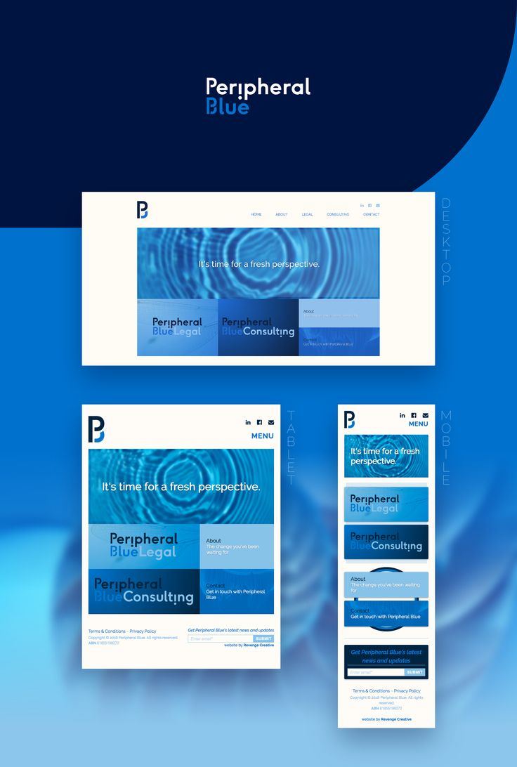 Website Design & Development for boutique law services provider, Peripheral Blue.    To see more visit https://revengecreative.com/work