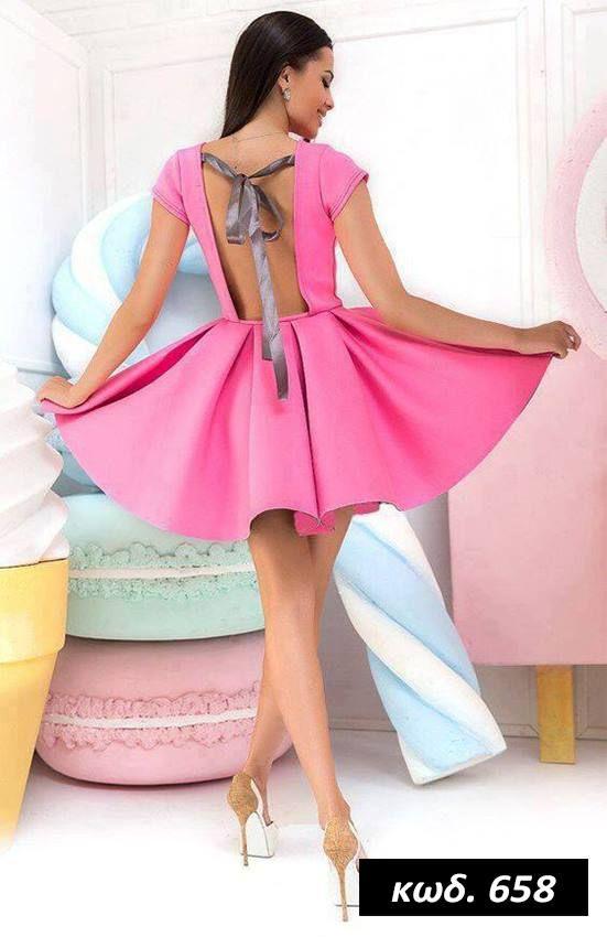Κωδικός AD658, Υλικό Neoprene, Χρώμα Ροζ, Pink Color, O Neck, Ελαστικό, Mini, Κοντομάνικο, Pleated Dress, Eξώπλατο, Backless, Pin Up, Romantic, Cute, One Size