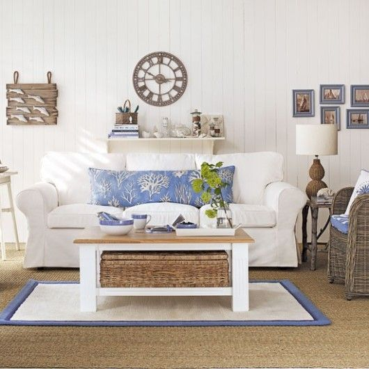 Bring the seaside indoors with coastal inspired living room accents. You can find accessories like these at Target.