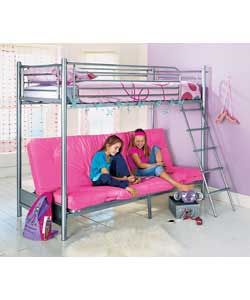 Silver Bunk Bed With Fuschia Futon And Sprung Mattress Tubular Steel Frame Single Top Double Base Overall Size W 161 Including