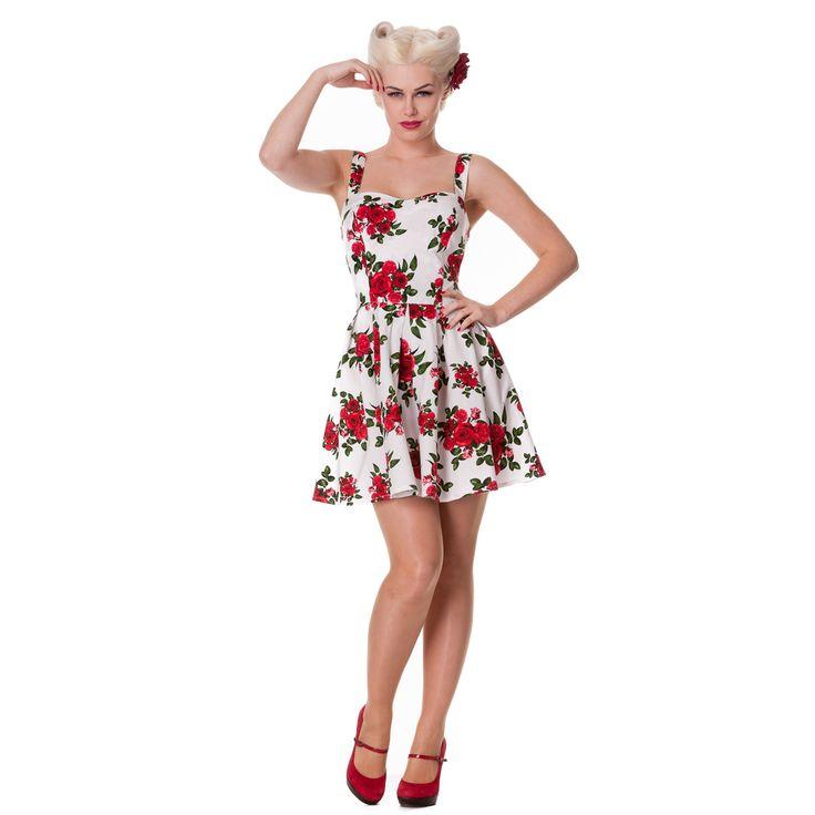 Vestito bianco con rose rosse nyc