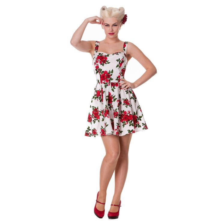 Offering a stunning 50s style fit and flare cut, with a close fitting bodice and a full, flared mini skirt. The back of the bodice incorporates shirring elastic panels, and the shoulder straps are adjustable for a perfect fit.