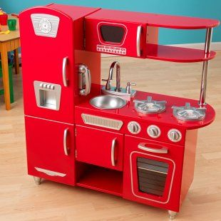 Young Chefs Will Love Cooking Up Feasts For The Whole Family With Adorable Kidkraft Red Vintage Kitchen Is Made Of