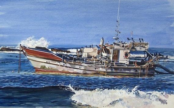 The Diamond Prospector's Boat - | Mynderd Vosloo | Painters Online