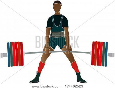 male athlete powerlifter deadlift in powerlifting color silhouette