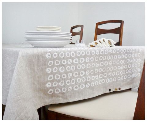 Linen Tablecloth   Off  White Rings Hand Printed By Celina Mancurti