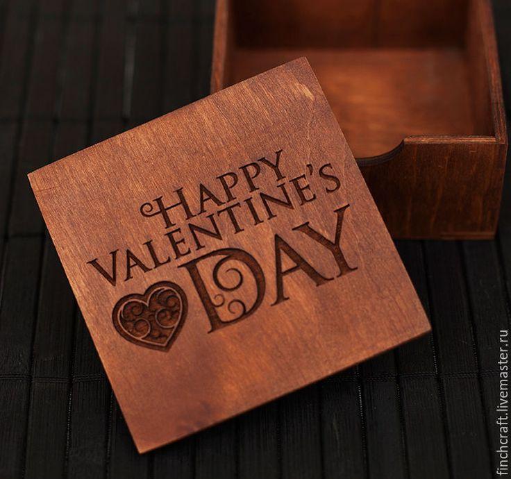 Купить Подарочная коробка HAPPY VALENTINE's DAY. - коричневый, упаковка, деревянная коробка, деревянная коробочка