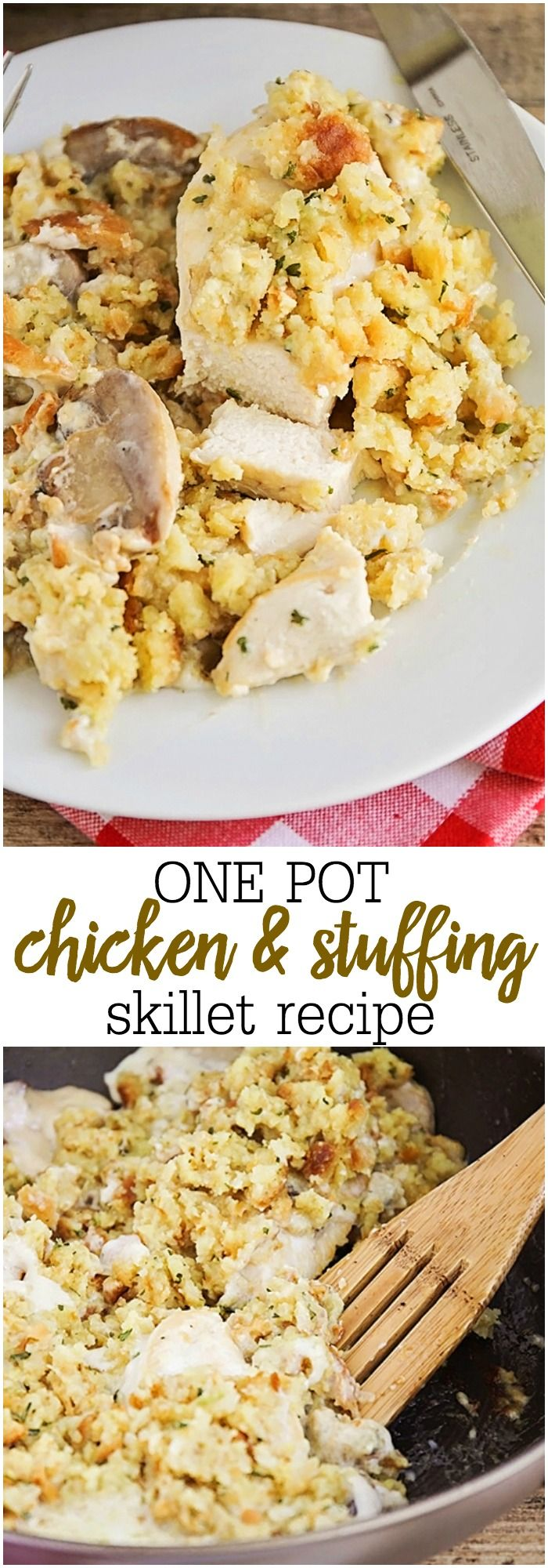 One Pot Chicken and Stuffing Skillet - a DELICIOUS and flavorful combination of chicken, stuffing, and mushrooms all in one pot! A new favorite (and ultra easy!!) dinner recipe!